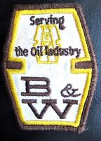 """B~W OIL EMBROIDERED SEW ON PATCH OIL GAS OIL DRILLING ADVERTISING 2 1/2"""" x 3"""""""
