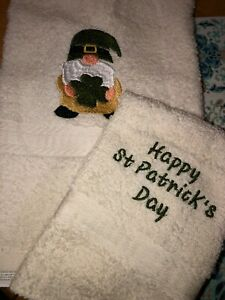 Embroidered Bathroom Hand Towel w Cloth Gnome Happy St Patrick's Day Shamrock