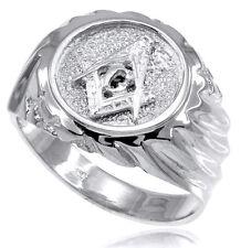 10k Solid White Gold Masonic Men's Ring