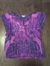 Oneworld M Sheer Purple Tassel blouse  AB12
