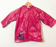 CHARLOTTE & FRIENDS Rain Coat Jacket Size 4/6 Vinyl Red Ladybug Hooded