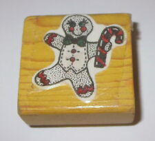 Gingerbread Man Rubber Stamp Candy Cane Bow Tie Vest Christmas Cookie