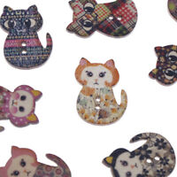 15X 2-hole Cartoon Mixed Lovely Cat Shape Wooden Floral Painting Buttons rsJ Jf