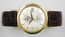 Genuine Leather Strap OMEGA Solid Gold Case Wristwatches