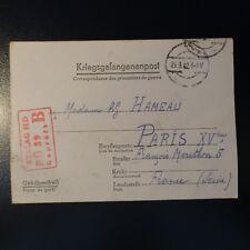 LETTRE PRISONNIER DE GUERRE STALAG II D 29.09.42 KRIEGSGEFANGENENPOST POW