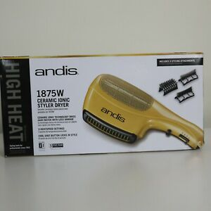 Andis 1875W Ceramic Ionic Styler Hair Dryer, Gold, HS-2, Brand New