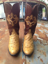 FINE USA AMBER LUCCHESE OSTRICH VINTAGE WESTERN EXOTIC COWBOY BOOTS SIZE 6.5 D