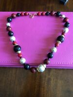 Vintage Avon Graduated Multicolored And Gold Tone Beaded Necklace