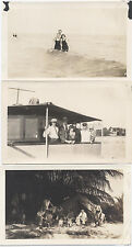VINTAGE IMAGES OF A FAMILY VACATION, BEACH, WAVES, BATHING SUITS. SET OF THREE.