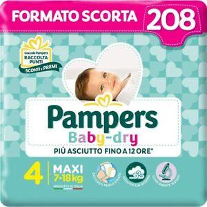 Pampers Baby Dry Maxi, 208 Pannolini, Taglia 4 Maxi (7-18 kg) scorta