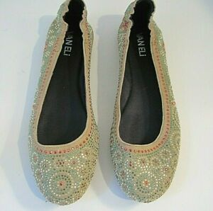 VANELI Multicolored Beads On Beige Suede Flats Size 7 1/2 M, NEW!