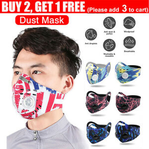 Reusable Face Mouth Mask Anti Air Pollution with Filter PM2.5 Two Valve Washable