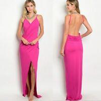 Open Back V Neck Maxi Long Dress Front Split Spaghetti Strap Beach Summer Pink