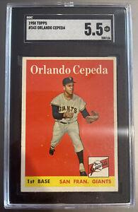 1958 Topps, #343, HOF Orlando Cepeda ROOKIE, SGC 5.5 EX+