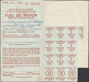 U.S., 1940s. WWII Fuel Oil Ration Book, Class 4