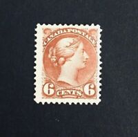 Canadian Stamp, Scott #43 6c 'Ottawa Printing' 1888 Mint/Hinged