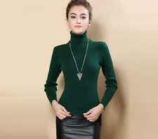 Women Cashmere Sweater Autumn Winter Knitted Turtleneck Pullover Wool  Warm New