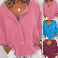 Casual Women Summer Cotton Linen Casual Buttoned-Decor Tops Blouse T-Shirt Pure