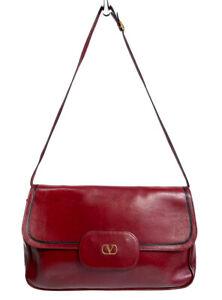 Vintage VALENTNO Garavani Leather Shoulder Bag Convertible Clutch Burgundy Red V
