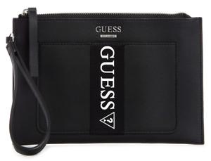 NEW GUESS Maleek Womens Handbag Wristlet Clutch Pouch Bag Wallet Black Logo
