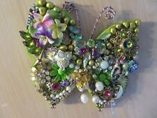 Multi-Colored Vintage Costume Jewelry Collage Butterfly Wall Art Creation