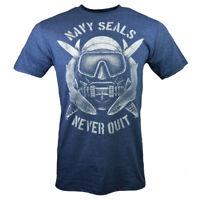 Men's T-shirt-Never give Up,Never Quit-U.S. NAVY SEALS-Diving Sharks -Blue -New.