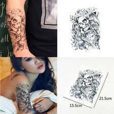 Removable Big Tattoo Skull Black Waterproof Body Arm Temporary Stickers Decor