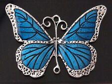 1 extra-large Tibetano Argento Colore Blu Smalto Pendente Charm Farfalla link (TSC55T)