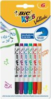 BIC Kids Mini Velleda Whiteboard Markers Pens - Pack of 6 - Assorted Colours ...
