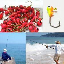 New Hot 40pcs Jig Lead Head Painted Double Eye Mustad Hook Fishing Hook 2.6cm
