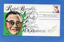 Sc #1860 Ralph Bunche Goldberg Hand Painted Cachet First Day Cover