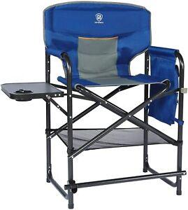 Medium Tall Directors Chair Foldable Makeup Artist Chair Bar Height Side Table