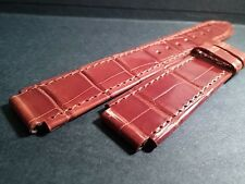 Milus band alligator Shiny Brown-Short-scuff- 15mm (at watch) x 18mm at buckle
