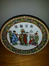 Vintage chinese FuKurokFamille Rose enamel Plate Hand Painted Porcelain signed