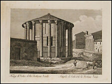 1818c.Inc/Rame.ROMA:Tempio di VESTA o Fortuna VIRILE.. par NIBBY - Parboni-Ruga.