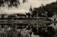 Gemünden am Main AK ~1950/60 Teilansicht mit Fluss Partie und Häusern Kirche