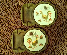 2 VINTAGE 50's-60's RETRO CAST IRON Combo TOBACCO ASH TRAY COASTER JAPAN rooster
