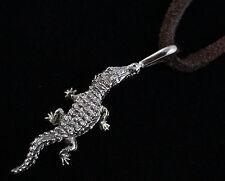 Aj15 Crocodilia Crocodylidae Reptile Crocodile White Bronze Pendant 40mm