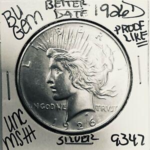 1926 D BU GEM PEACE SILVER DOLLAR UNC MS+ GENUINE U.S. MINT RARE COIN 9347
