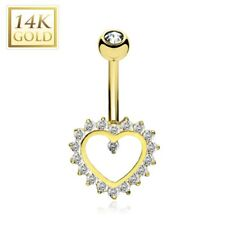 14K Solid GOLD BELLY Button NAVEL RINGS Body Piercing Jewelry *HEART Paved GEMS