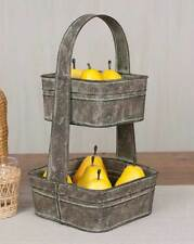 Classic Heavy Gauge Tin Reproduction Two Tier Square Tote Barn Roof Gray 810278