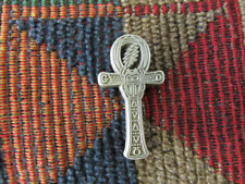 Dead Head Steal Your Ankh Egyptian Cross Scarab Antique Silver Tone Lapel Pin