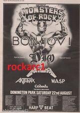BON JOVI METALLICA WASP Donington 1987 UK Poster size Press ADVERT 16x12 inches
