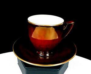 "CARLTON WARE ENGLAND LUSTER MAROON TRIM 2 3/8"" DEMITASSE CUP & SAUCER SET"