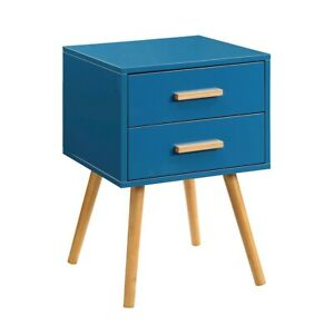 Convenience Concepts Oslo 2 Drawer End Table, Blue - 203522BE