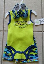 3 Pc   Baby boy one piece size 0/3 months green, 3pc Baby Gear