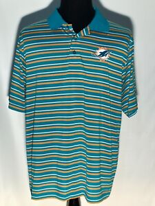 Miami Dolphins NFL Football Striped Team Majestic Embroidered Logo XL Polo Shirt