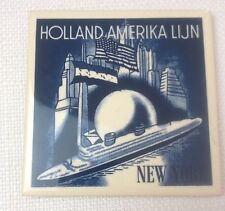 "Delft Blue Coaster Cork Back Tile Holland Amerika Lijn America Line 4"" Square"