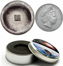 Rare 2015 Cook Is.Large Antiqued Silver  $5 Chondrite Meteorite ,gift box