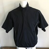 Footjoy FJ Mens Pullover M Medium DryJoys Solid Black Golf Golfing